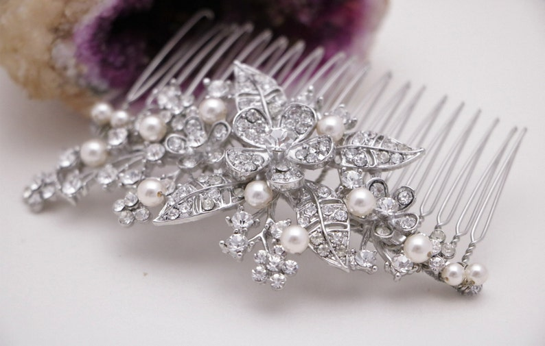 VINTAGE CASCADING  HAIR CHAINS ON COMBS WITH CRYSTALS GOLD SILVER TONE