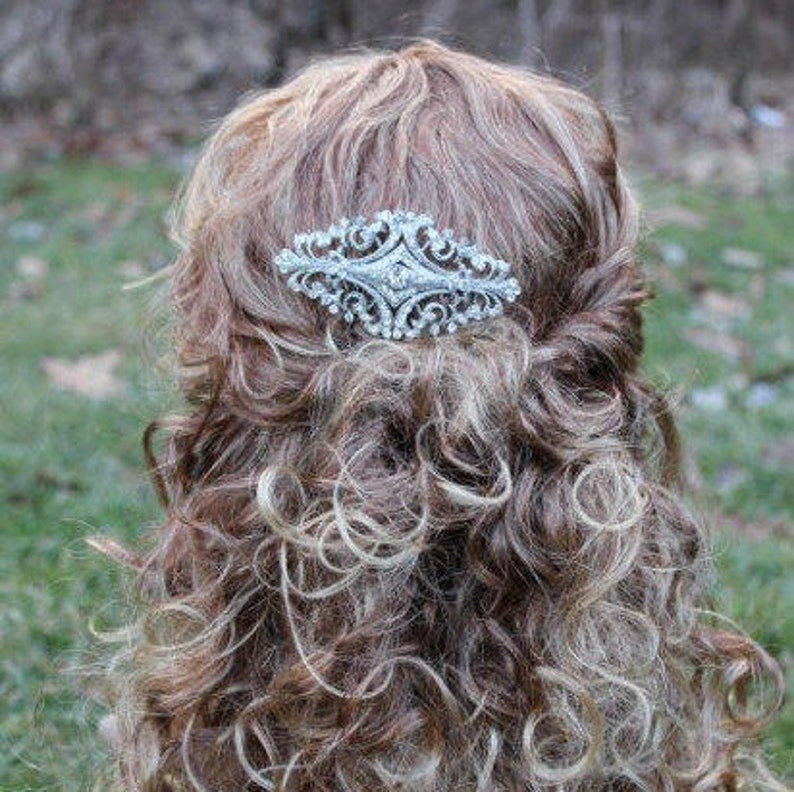 Bridesmaid hair clip Rhinestone hair comb Bridal hair piece Crystal Bridal hair clip Silver Bridal hair comb Bohemian Wedding hair comb Prom