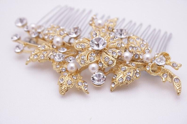 gold hair comb wedding hair comb Pearl hair pins,Bridal hair comb Crystal hair comb,Wedding hair accessories,Bridal comb Gold Wedding comb