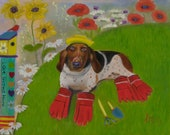 THE GARDENER, Original 16 x 20 Oil Painting of basset hound in garden by Lesley Mills from Merlin's Garden Free Domestic Shipping