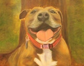 PENNI DOG,  Original 16 x 20 Oil Painting of rescued pitbull by Lesley Mills from Merlin's Garden Free Domestic Shipping