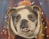 ROSIE, Original 16 x 16 Oil Painting of English Bulldog by Lesley Mills from Merlin's Garden Free Domestic Shipping