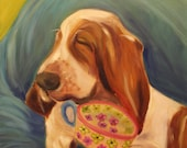 REST PERIOD,  Original 16 x 20 Oil Painting of basset hound by Lesley Mills from Merlin's Garden Free Domestic Shipping