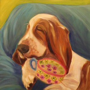 THE NOSE 8 X 8  original oil painting of basset hound by Lesley Mills from Merlin/'s Garden Free Domestic Shipping