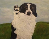 BARNEY,  18 X 24  Original Oil Painting of Border Collie by Lesley Mills from Merlin's Garden Free Domestic Shipping