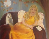 SEAT OF WISDOM, 30 X 40 framed original oil painting of angel and owl  by Lesley Mills from Merlin's Garden Free Domestic Shipping