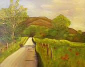 ROAD LESS TRAVELLED, 24 x 30  Original Framed Oil Painting by Lesley Mills from Merlin's Garden Free Domestic Shipping