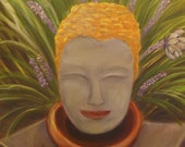 FUNKY GARDEN BUDDHA, Original 16 x 20 Oil Painting of Buddha in garden by Lesley Mills from Merlin's Garden Free Domestic Shipping