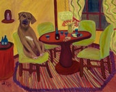 Handmade Greeting Card of Dining with Ketzel, a Rhodesian Ridgeback