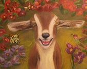 GARDEN OF BLISS, Original 16 x 20 Oil Painting of goat in garden by Lesley Mills from Merlin's Garden Free Domestic Shipping