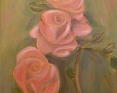 A Rose is a Rose, 11 x 14 Original Oil Painting of Roses by Lesley Mills from Merlin's Garden Free Domestic Shipping
