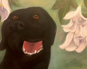 LAB JOY, 11 x 14 Original Oil Painting of black labrador retriever on heavy duty canvas by Lesley Mills from Merlin's Garden