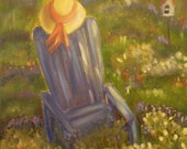 GARDEN TIME, 12 X 12 Original Oil Painting of garden chair in garden setting by Lesley Mills from Merlin's Garden Free Domestic Shipping
