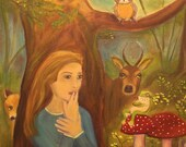 ENCHANTMENT, Original 16 x 20 Oil Painting of enchanted forest by Lesley Mills from Merlin's Garden Free Domestic Shipping