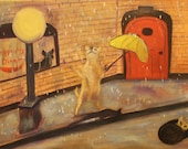 PEPPER'S DANCE,  Original 12 x 16 Oil Painting of dog dancing in the rain by Lesley Mills from Merlin's Garden Free Domestic Shipping