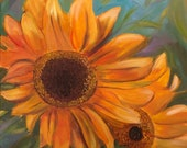 SUNFLOWER, 24 x 24  Original Oil Painting by Lesley Mills from Merlin's Garden Free Domestic Shipping