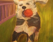 RUBY LOU,  Original 16 x 20 Oil Painting of dog with red ball by Lesley Mills from Merlin's Garden Free Domestic Shipping