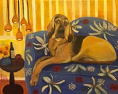 HOUND DOG HEAVEN, Original 16 x 20 Oil Painting of hound dog by Lesley Mills from Merlin's Garden Free Domestic Shipping