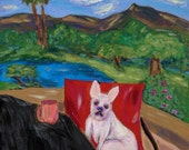Morning Coffee with French Bulldog Buster, 10x10 Fine Art Print of French Bulldog, Whimsical, Colorful Humorous Art Print with Dog