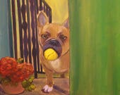 PLAY BALL,  Original 16 x 20 Framed Oil Painting of french bulldog by Lesley Mills from Merlin's Garden Free Domestic Shipping