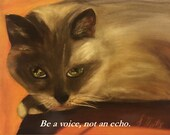 Magnet of Original Oil Painting Siamese Watch 5-1/2 by 4-1/4 inch size FREE SHIPPING