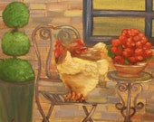 MORNING ROOST,  12 X 12 Original Oil Painting of chickens on heavy duty canvas by Lesley Mills from Merlin's Garden Free Domestic Shipping
