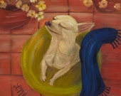 MEDITATION, 12 X 12 Original Oil Painting of Chihuahua, Dog, Colorful, by Lesley Mills from Merlin's Garden Free Domestic Shipping