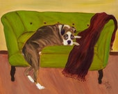 TITAN'S BED, Framed 16x20 Original Whimsical Oil Painting of boxer by Lesley Mills from Merlin's Garden Free Domestic Shipping