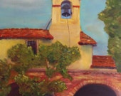 SAN JUAN CAPISTRANO mission, 16 x 20 original oil painting by Lesley Mills from Merlin's Garden Free Domestic Shipping