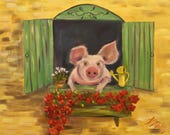 LULU'S BALCONY, Original 16 x 20 Oil Painting of pig in garden by Lesley Mills from Merlin's Garden Free Domestic Shipping