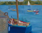 LAZY AFTERNOON, Original 11 x 14 Oil Painting of sailboats on water by Lesley Mills from Merlin's Garden Free domestic shipping