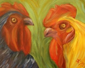 COUNTRY CHAT, 12 x 16 Original Oil Painting of Chickens in conversation on heavy duty canvas by Lesley Mills from Merlin's Garden