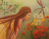 MAKE A WISH, Original 20 X 24 Oil Painting of young girl making wish in garden by Lesley Mills from Merlin's Garden Free Domestic Shipping