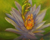 Handmade Greeting Card from Merlin's Garden of Water Lily Rising, Art Card of Frog and Water Lily FREE SHIPPING