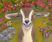 GARDEN OF BLISS,  11 X 14  Glicee Fine Art Print of Goat in Garden Setting by Lesley Mills from Merlin's Garden