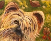 PRECIOUS, 8 x 10  original whimsical oil painting of Silkie Terrier Dog by Lesley Mills from Merlin's Garden Free Domestic Shipping