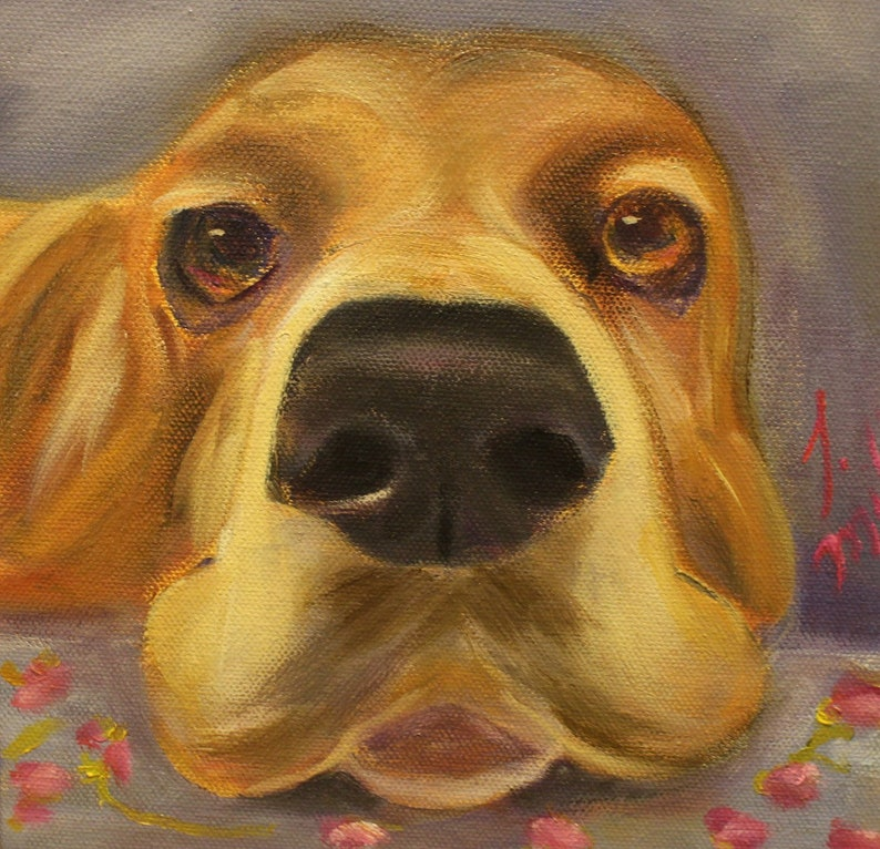 THE NOSE 8 X 8  original oil painting of basset hound by image 0