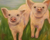 DOUBLE TROUBLE, Original 16 x 20 Oil Painting of PIGS by Lesley Mills from Merlin's Garden Free Domestic Shipping