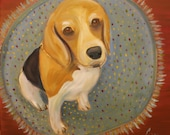 SPARKLE, Original 16 x 16 Oil Painting of beagle dog by Lesley Mills from Merlin's Garden Free Domestic Shipping