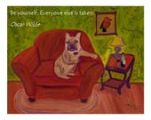 Magnet of Original Oil Painting Wallace in Repose 5-1/2 by 4-1/4 inch size FREE SHIPPING