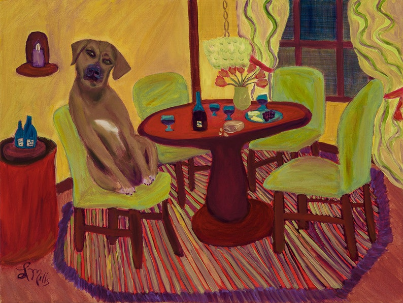 Handmade Greeting Card of Dining with Ketzel a Rhodesian image 0