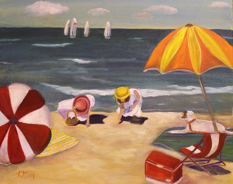 BEACH MAGIC Original 16 x 20 Oil Painting of two girls at image 0