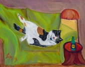 Tigerlilly and the New Catnip, Handmade Greeting Card from Merlin's Garden  FREE SHIPPING