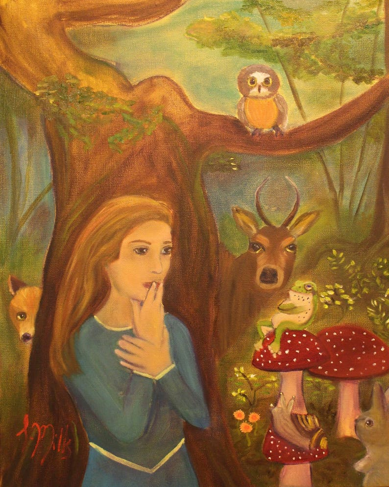 ENCHANTMENT Original 16 x 20 Oil Painting of enchanted forest image 0