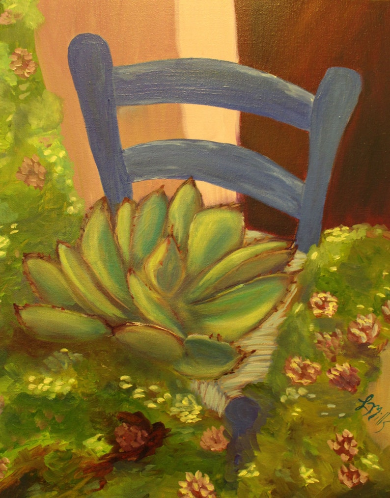 GARDEN CHAIR , 16 x 20 original oil painting by Lesley Mills from Merlin\'s  Garden Free Domestic Shipping