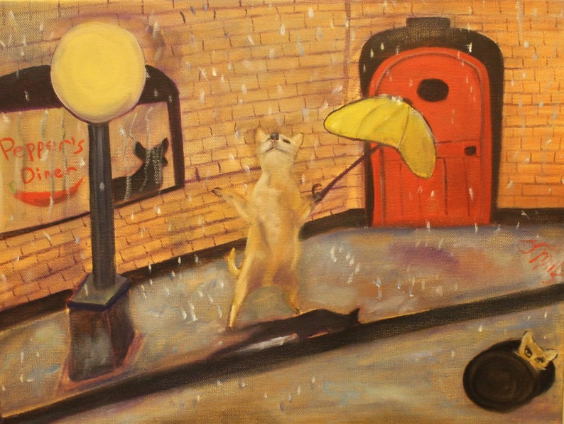 PEPPER'S DANCE  Original 12 x 16 Oil Painting of dog image 0