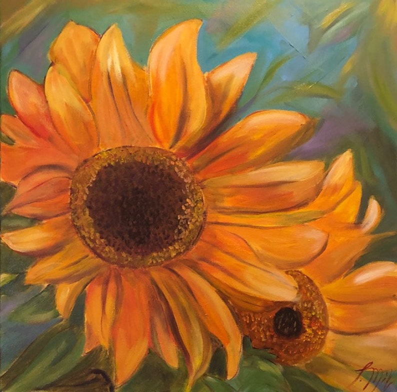 SUNFLOWER 24 x 24  Original Oil Painting by Lesley Mills from image 0