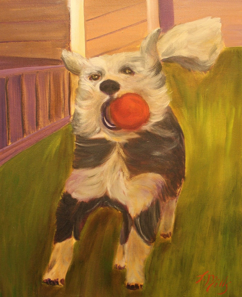 RUBY LOU  Original 16 x 20 Oil Painting of dog with red ball image 0