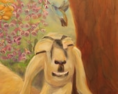 NAP TIME, Original 16 x 20 Oil Painting of goat in garden by Lesley Mills from Merlin's Garden Free Domestic Shipping