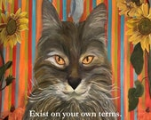 Magnet of Cat Painting On His Own Terms 5-1/2 by 4-1/4 inch size FREE SHIPPING